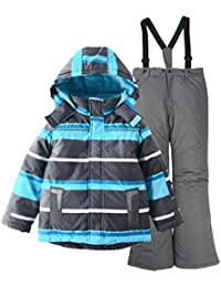 M2C Boys Thicken Warm Hooded Striped Ski Snowsuit Jacket & Pants 8/9 Blue