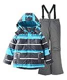 M2C Boys Thicken Warm Hooded Striped Ski Snowsuit Jacket & Pants 4T Blue