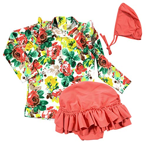 (Baby Girls Three Pieces Floral Sun Protection Swimsuit Bikini Set,Coral, 4-5T (Tag size: XL) )