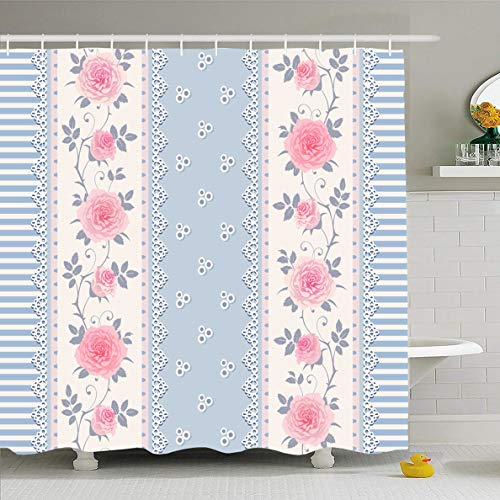 Ahawoso Shower Curtain 72x72 Inches Roses Blue Shabby Striped Pattern Branches Laces Plant Vintage Pink Chic Border White Floral Provence Waterproof Polyester Fabric Set with Hooks (Pink Floral Border)