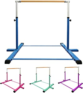 GLANT Gymnastic Kip Bar,Horizontal Bar for Kids Girls Junior,3' to 5' Adjustable Height,Home Gym Equipment,Ideal for Indoor and Home Training,1-4 Levels,300lbs Weight Capacity