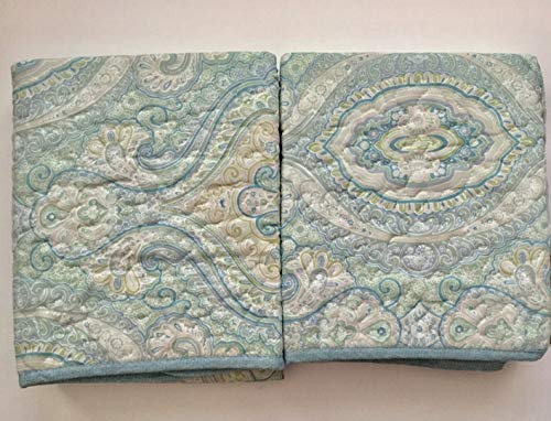 Tommy Bahama Quilted Standard Shams, Light Blue Sage Green Turtle Cover (Set of 2)
