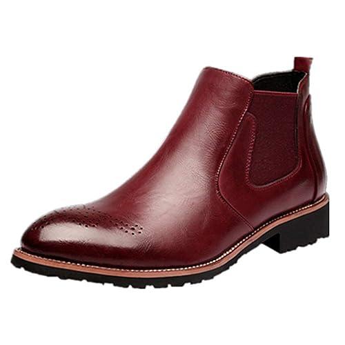 98a9cffdb40 Hombre Botas Chelsea de Cuero Elegantes Calzado Oxfords Zapatos Forro Piel  Sneakers Invierno Otoño Zapatos Negro Marrón Rojo 37-44: Amazon.es: Zapatos  y ...
