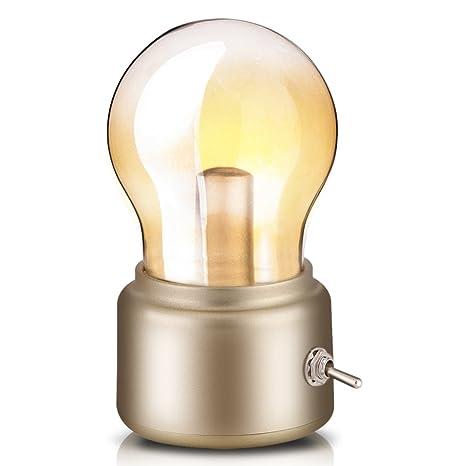Lámpara Nocturna Lámpara de bombilla retro, USB recargable Lámpara de noche LED Mini lámpara de escritorio lámpara de pie Ahorro de energía y elegante ...