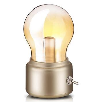 Lámpara Nocturna Lámpara de bombilla retro, USB recargable Lámpara de noche LED Mini lámpara de