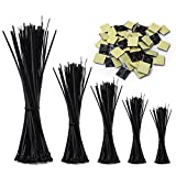 Zip Ties,RIZUGG 500 PCS Cable Ties uv Resistant Nylon with Self-Locking 4/6/8/10/12 Inch, Black