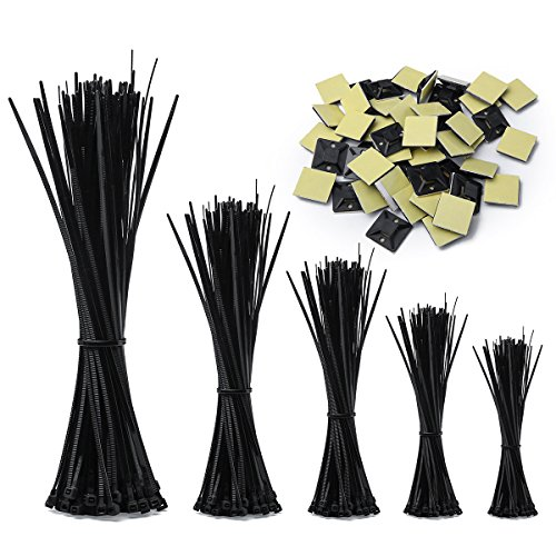Zip Ties,RIZUGG 500 PCS Cable Ties uv Resistant Nylon with Self-Locking 4/6/8/10/12 Inch, Black by RIZUGG