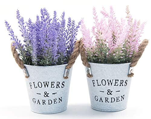 LODESTAR Artificial Lavender Flowers in Metal Pot Mini
