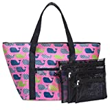 3C4G Whales Zip Tote with Mesh Storage Bag