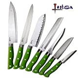 Lasten 7 Piece Premium Kitchen Knife Set, Stainless Steel Knives Set, 7 Piece – Chef Knife, Bread Knife, Carving Knife, Utility Knife, Paring Knife, 2 Santoku Knives, Great for All Homes & Kitchens