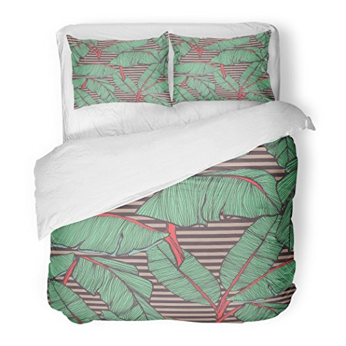 SanChic Duvet Cover Set Blue Tribal Tropical Palm Leaves Green Aloha Surf Vintage Miami Decorative Bedding Set Pillow Sham Twin Size by SanChic