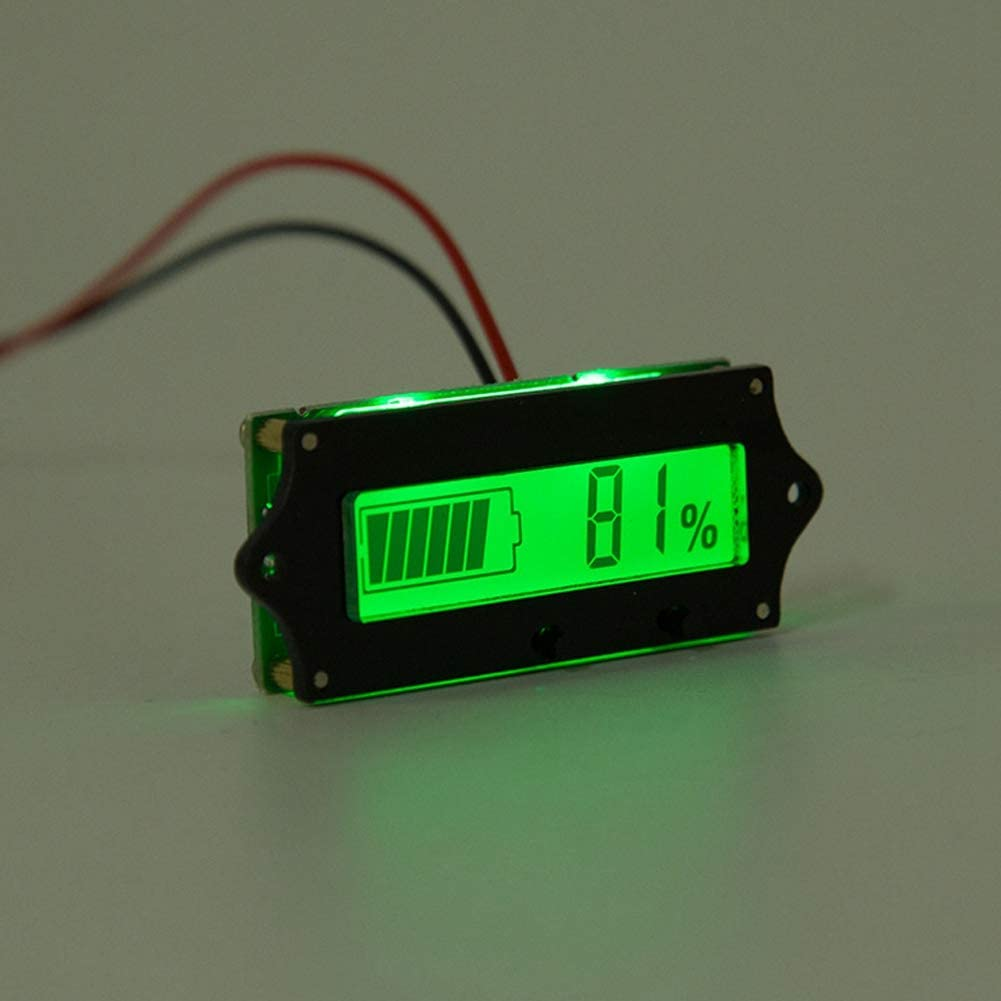 AMONIDA Battery Meter LCD Battery Capacity Monitor 12-84V Battery Capacity Tester with Light Alarm Function Bleu