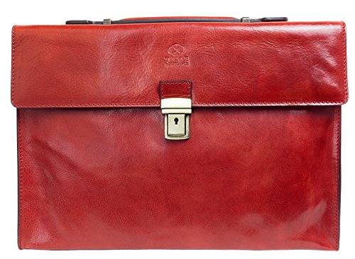 Leather Briefcase, Messenger Bag, Red Laptop Bag, Unisex Classy - Time Resistance by Time Resistance
