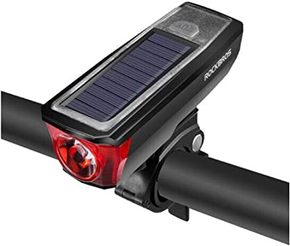 ROCKBROS MTB Bicycle Headlights Solar Charging Flashlight Horn Light Black Red