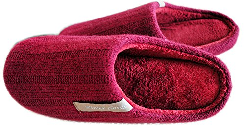 Coral Red Bubble (Indoor Home Slippers Bedroom Women Mens Shoes Wool Winter Weaving Memory House Bubble Cotton Autumn Coral Velvet Floor Drag red US5.5-7=UK4.5-6=EU36-39)