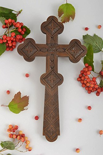 (Handmade Carved Cross Unusual Wall Decoration Interior Decor Wooden Cross For Interior Home Design By MadeHeart)