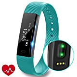 Fitness Tracker HR, REDGO Fitness Tracker Watch with Heart Rate Monitor, Slim Touch Screen and Wristbands, Wearable Waterproof Activity Tracker Pedometer for Android and iOS, Green