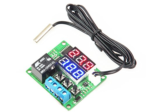 LM YN Digital Thermostat Module DC 12V -20℃ to +100℃ Temperature Controller Board Electronic Temperature Control Module Switch Waterproof Sensor Probe Dual LED Display Red+Blue ()