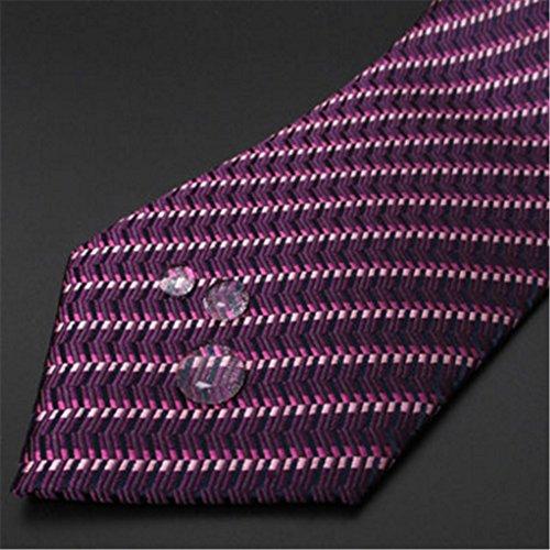 Version Featured MIAOMIAOWANG Business Wedding Narrow Tie Purple Groom Men's 100 Silk Pattern Tie Stripes Mulberry Pink And rttqxZw