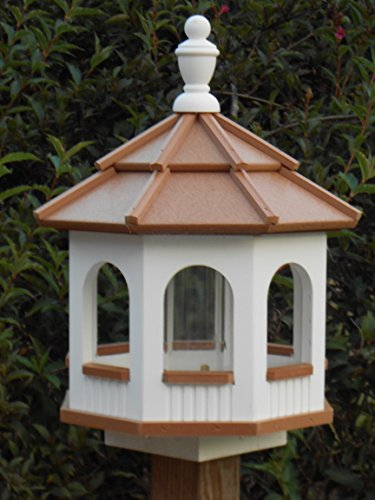 Vinyl Gazebo Bird Feeder Amish Homemade Handmade Handcrafted White & Cedar med