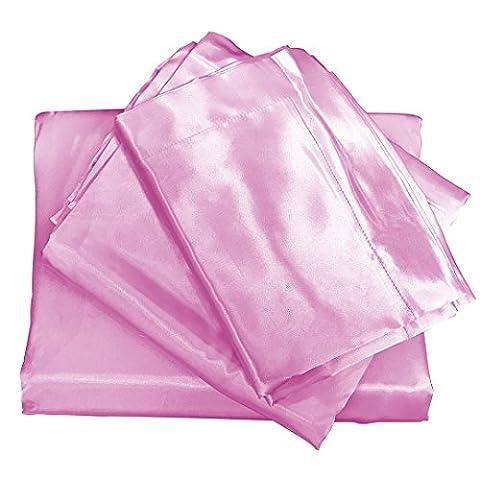 Brandream Silky Satin Bed Sheet Set Soft Sheets Pink Bedding Full Size,4pc - Pink Satin Sheet Set
