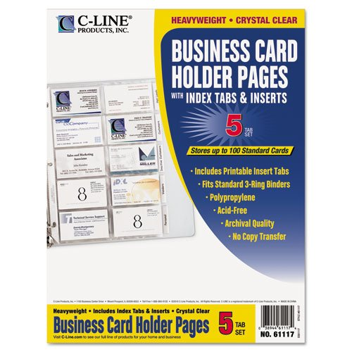 C-Line 61117 Tabbed Business Card Binder Pages, 20 Cards Per Letter Page, Clear (Pack of 5 Pages)