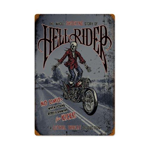 Hell Rider Motorcycle Vintage Metal Sign - Victory Vintage Signs