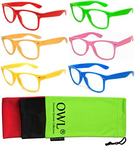 OWL 5,6,10,12 Pack Retro 80's Vintage Sunglasses Clear Lens Colored Frame