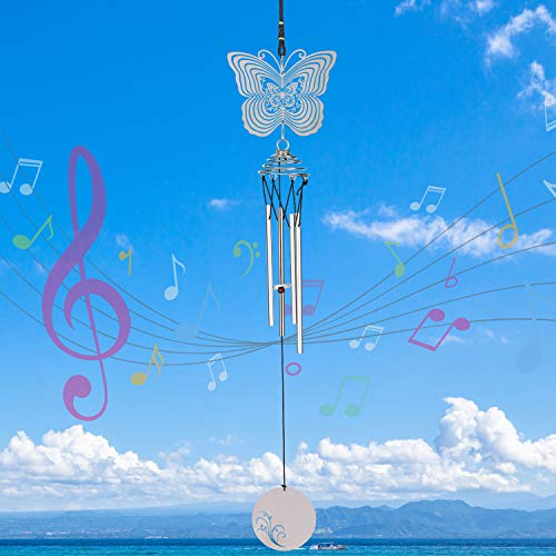 Nice Dream Butterfly Wind Chimes, 3D Stainless Steel Wind Spinner Decoration for Indoor Home Balcony Porch Window and Outdoor Garden Backyard Gift Silver (Chime Electric Wind)