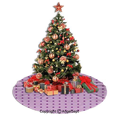SfeatrutMAT Christmas Tree Skirt,Mauve,Retro Polka Dots Background Nostalgic Stylized Feminine Girls Fashion Artsy Pattern,Plum Lilac,30inches,for Halloween or Christmas (Christmas Background Artsy)