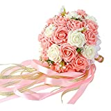 Wedding Bridal Bouquet, Febou Wedding Bride Bouquet, Wedding Holding Bouquet with Artificial Roses Lace Pearl Ribbon, Perfect for Wedding, Church, Party and Home Decor(Long Ribbon, White+Pink)