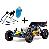 Redcat Racing Gold Bundle - Hurricane XTR Nitro Buggy, Yellow/Flame, 1/8 Scale - PLUS - Redcat Racing 80142A Nitro R/C Starter Kit