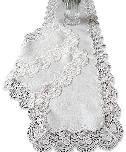 - Galleria di Giovanni Dresser Scarf Royal Rose European Lace White Table Runner 54 Inch Plus Two Place mats or End Table Doilies