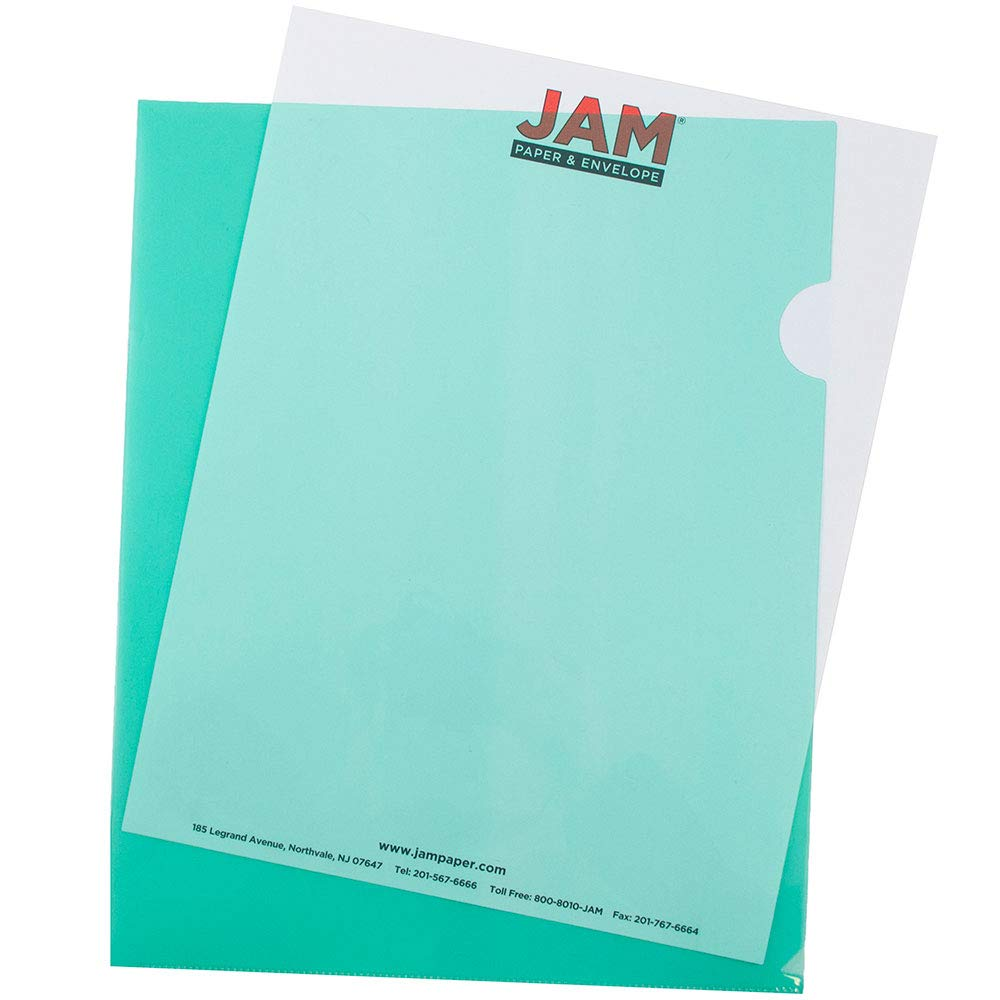 JAM PAPER Plastic Sleeves - Letter Size - 9 x 11 1/2 - Green Project Pockets - 12 Page Protectors/Pack by JAM Paper
