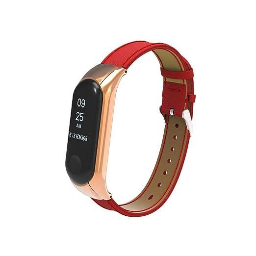 LUNULE VENMO Correas para Xiaomi Mi Band 3,Correa de Reloj de Xiao Mi Recambio Pulsera magnética de Metal+ Cubierta de la Caja de Metal para Xiao Mi ...