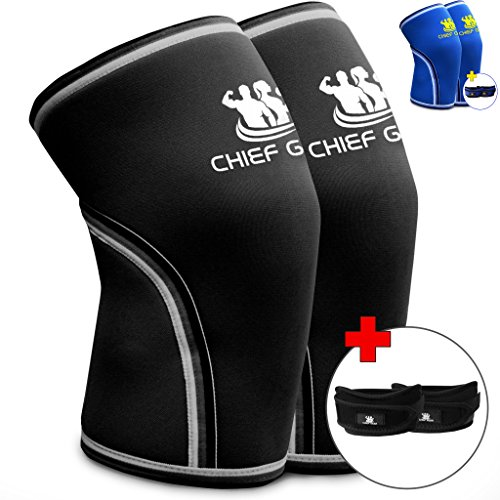 Knee Sleeve Neoprene 7mm (1 Pair) with FREE Adjustable Patella Knee Brace (1 Pair) By Chief Gear - Knee Support, Protects Patella, Pain Relief for Weight Lifting, Gym - (BLACK Small)