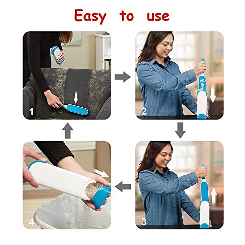 Pet Fur & Lint Remover Brush with Self-Cleaning Base, Extra-Large Double-Sided Lint Brush for Furniture,Clothes,Couch, Car Seat-Effective Dogs/Cats Hair Removal Tool (2pcs/set) by PETOU (Image #3)