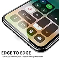 Eakase iPhone X Glass Screen Protector, [2 Pack]Tempered Glass with Soft PET Frame 3D Full Coverage Anti-Scratch HD Clear Screen Protector Film for Apple iPhone 10 5.8 Inch (Black) by Eakase