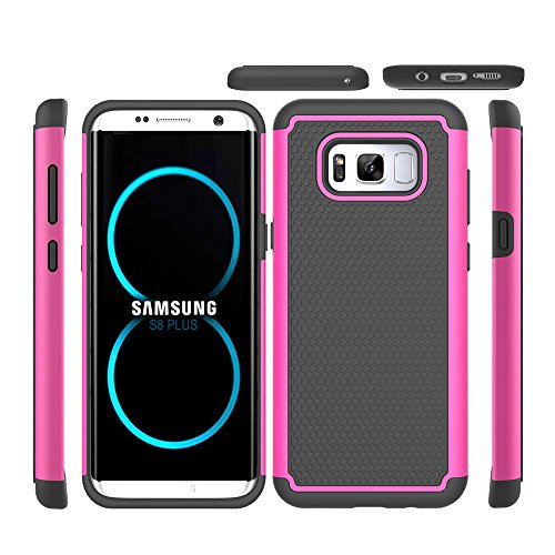 JECCE phone case for samsung galaxy s8 plus case,Shockproof Dual layer Rugged Full-body Anti-Slip High Armor Defender Combo Cover, Hard PC Case 6.2 inch 2017 for Women Men Girls (Double Side Black Dvd Cases)