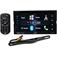 Package: JVC KW-V620BT 6.2 Double-Din Receiver With Bluetooth, HDMI, And Also Plays DVD + Rockville RBC5B Black Rearview Backup License Plate Bar Camera