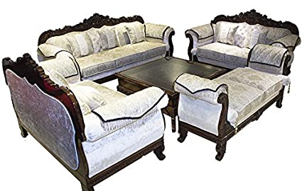 generic teak savoy 9 seat sofa set with center table carving rh amazon in wooden sofa set with center table used sofa set with center table