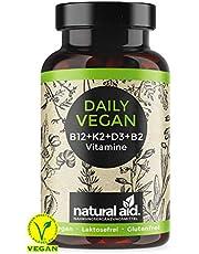 Daily Vegan - Vitamin B12+K2+D3+B2 Komplex - Kapseln Hochdosiert, 120 Kapseln (4 Monats-Vorrat), speziell für eine vegane/vegetarische Ernährung, glutenfrei, laktosefrei, hergestellt in Deutschland