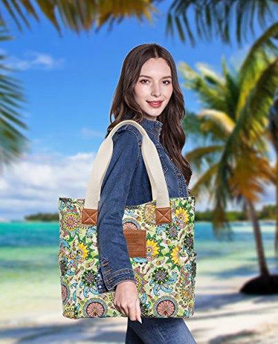 Malirona Canvas Beach Bags and Totes for Women Zippered Beach Shoulder Bag