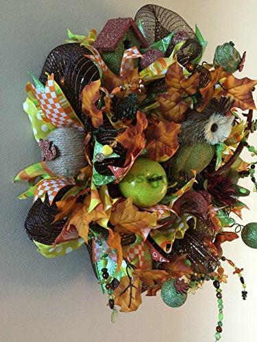 Colorfull Fall Wreath, Thanksgiving Wreath with Owl, Fall Decor, Deco Mesh Wreath, Home Decor, Fall Wall Decor, Front Door Wreath, Owl Decor