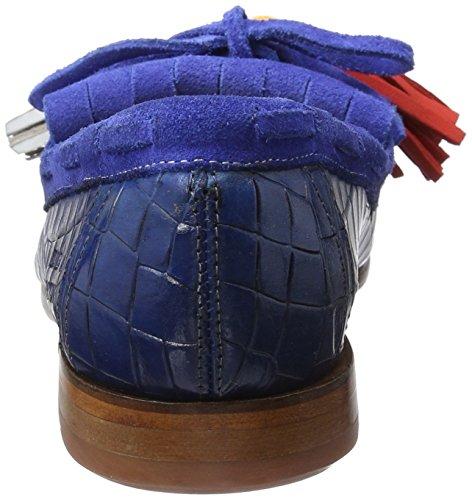 Melvin&Hamilton Ruby 1, Mocasines para Mujer Mehrfarbig (Crock E-Blue/Killty Suede E-Blue with Pom Pom LS NAT.)