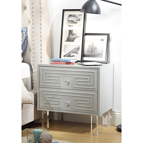 Inspired Home Aristotle Light Grey Glossy Nightstand - Lacquer Finish | Side Table | Acrylic Lucite - Greek Lamp Key Accent