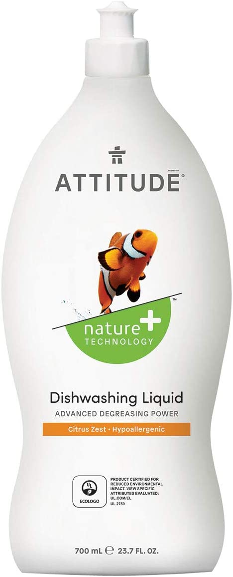 ATTITUDE Dish Detergent, Plant-Based, Hypoallergenic, Eco-Friendly, 23.7-Fl.Oz.