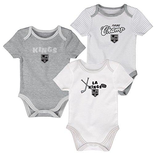 Outerstuff NHL Los Angeles Kings Layette Newborn 3Rd Period Onesie Set (3 Piece), 0-3 Months, Heather Grey