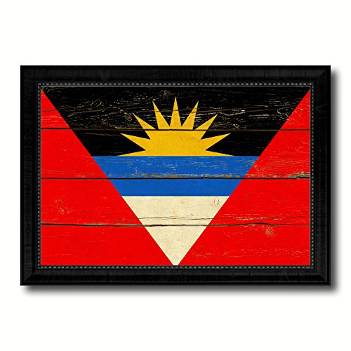 Antigua Barbuda Country Flag Vintage Canvas Print with Black Picture Frame Home Decor Wall Art Decoration Artwork Gifts