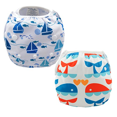 Damero 2pcs Baby Swim Diapers Travel Cloth Diaper Cover Swimsuit for Baby Boys& Girls (Whales and Sailboat)